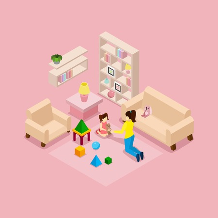 nursery room: Family at home isometric banner with young mother and daughter in playroom with toys abstract vector illustration Illustration