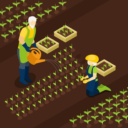 planting season: Retired green-fingered village residents farmers enjoy planting season  with their grandchildren isometric banner abstract vector illustration