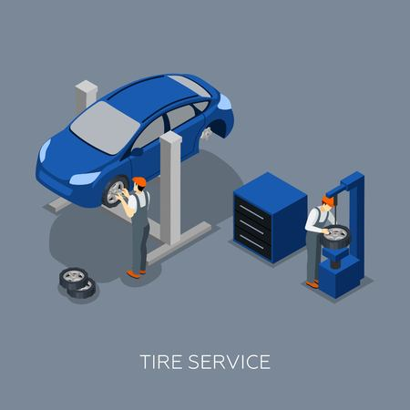 fixing: Flat tires fixing balance control and repair auto garage service mechanics team isometric banner abstract vector illustration