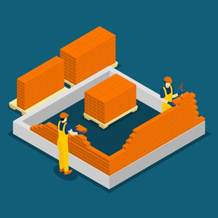 Building red brick wall construction process isometric banner with two masons at work abstract vector illustration
