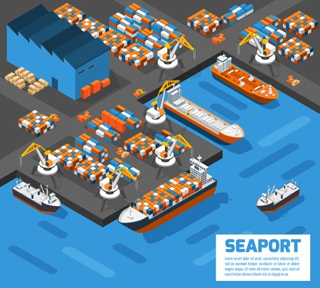 docks: Aerial view of harbor waterfront and maritime terminal with container ship loading isometric poster abstract vector illustration