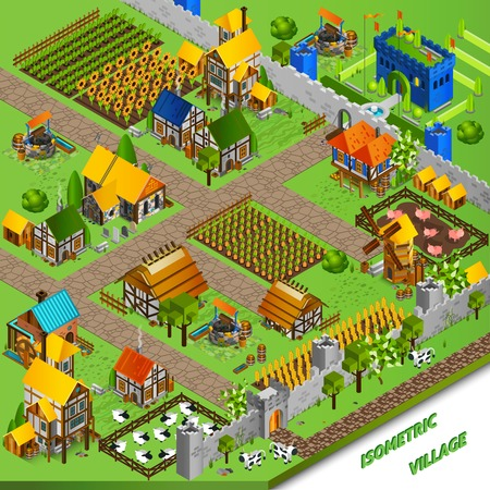 country life: Medieval life background with castle cattle mill and harvest isometric vector illustration