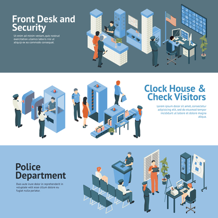 visitors: Police department horizontal banners set with clock house and check visitors symbols isometric isolated vector illustration Illustration