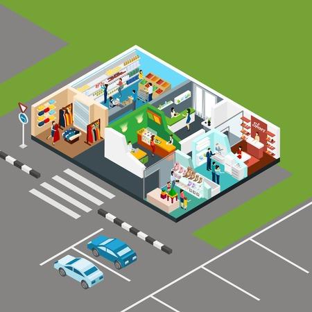 centro comercial: El centro comercial iconos isométricos en el esquema de un centro comercial de pisos con plaza de aparcamiento al lado de ilustración vectorial