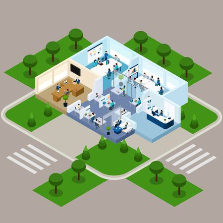 Isometric abstract scheme of ordinary one storied office with room interior staff and territory beside vector illustration Illustration
