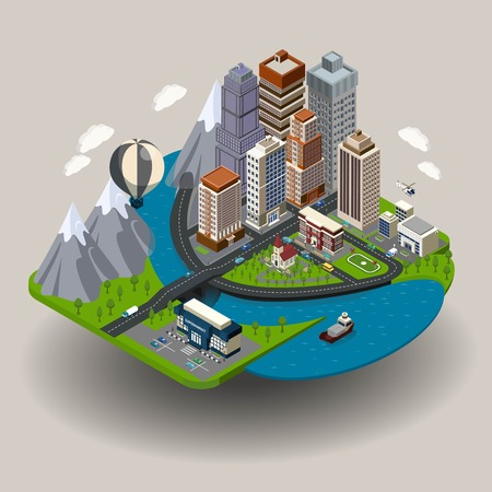 Isometric city icon with buildings street skyscrapers and other ordinary elements like school church clinic vector illustration