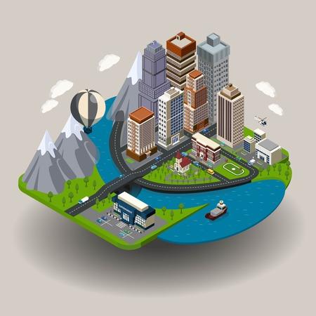 Isometrische Stadt Symbol mit Gebäuden Straße Wolkenkratzer und andere gewöhnliche Elemente wie in der Schule Kirche Klinik Vektor-Illustration