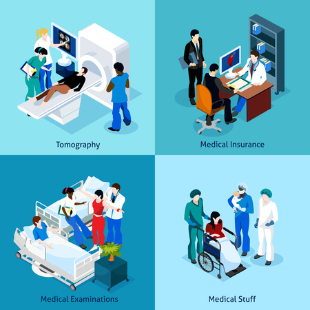 Relationship between patient doctor and other medical staff on a medical examination  isometric icon set vector illustration Illustration