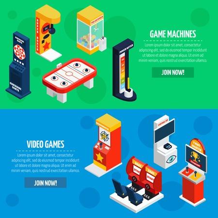 slot machines: Las máquinas de ranura 2 banderas isométricas diseño de páginas web con juegos de vídeo para reproducir ilustración vectorial aislado resumen en línea
