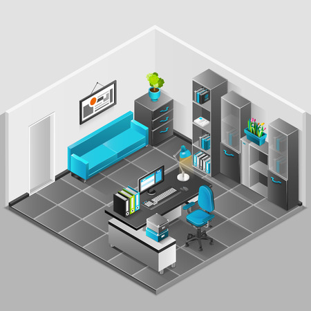 office staff: Office interior isomenric design with sofa table and computer vector illustration