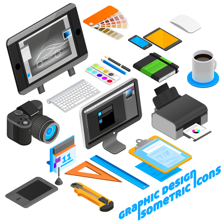Graphic design isometric icons set with computer and camera isolated vector illustration