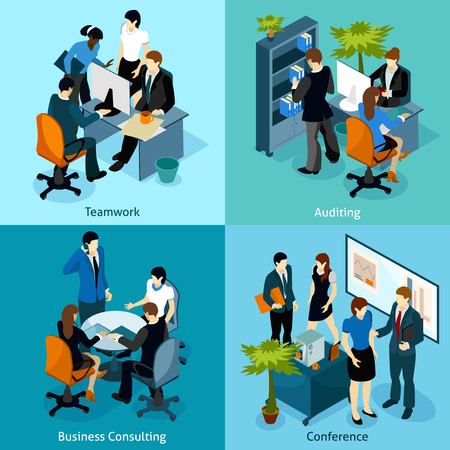 consulting business: Four isometric icons with office workers in team working audition business consulting and conference vector illustration