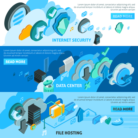 Cloud services isometric horizontal banners set with file hosting symbols isolated vector illustration