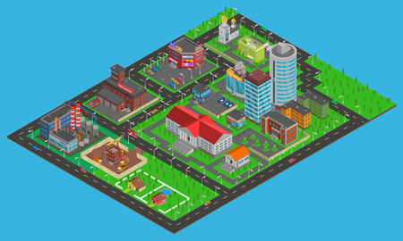 districts: Modern city  isometric map with transport infrastructure industrial and residential areas on blue background vector illustration Illustration