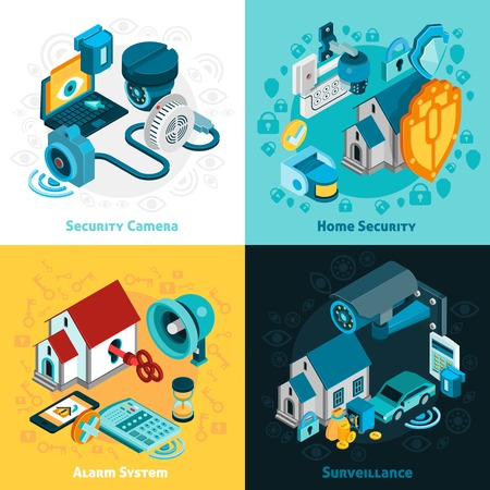 home security: Security system concept icons set with home security symbols isometric isolated vector illustration