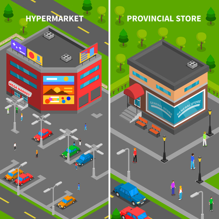 provincial: Store buildings isometric vertical banners set of hypermarket and provincial store top view with car parking and people vector illustration