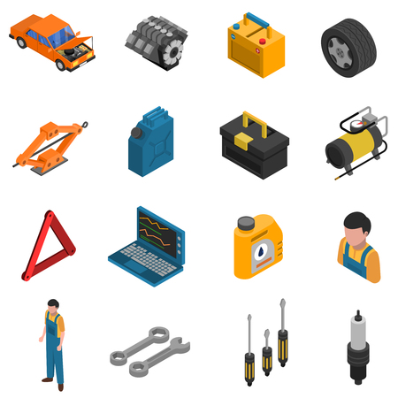 Isometric isolated icon set with colorful elements of car service like equipment staff and tools  vector illustration Illustration