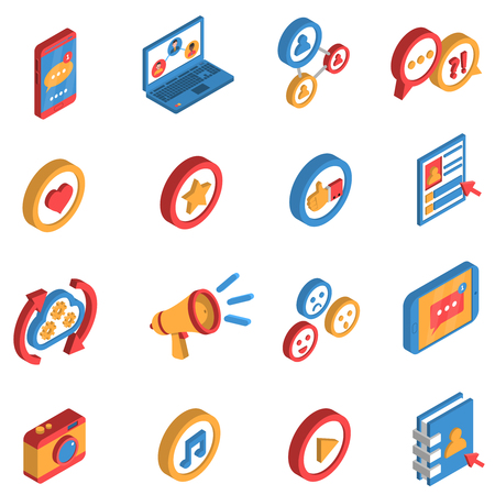 internet icon: Isometric isolated icon set  with decorative colorful symbols and elements of social network and internet vector illustration Illustration