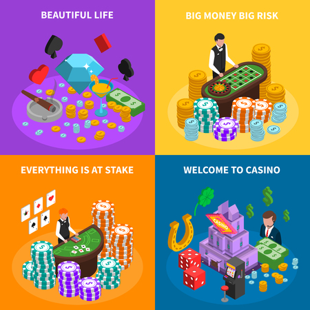 croupier: Casino 2x2 isometric design concept with game attributes croupier at poker game and roulette tables  and luck symbols vector illustration Illustration