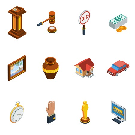 auction win: Isometric auction isolated icon set with different elements of bid process vector illustration