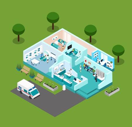 Centro médico de iconos de interior isométrica con diferentes salas de personal médico y equipo de ilustración vectorial