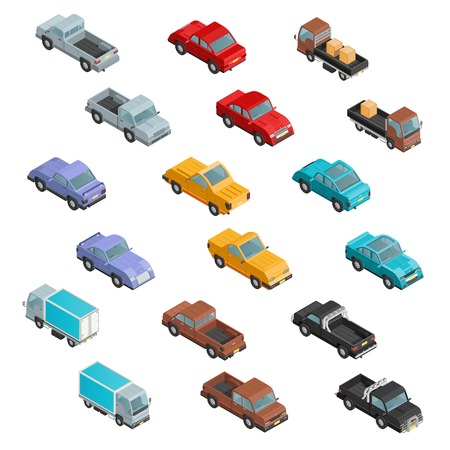 automobile: Road transport vehicles carryings passengers and cargo automobiles colorful  isometric icons collection abstract isolated vector illustration