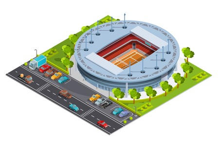 tennis stadium: Tennis sport complex with open court stadium for championships training and matches isometric banner abstract vector illustration