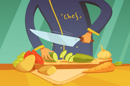 utensils: Chef slicing vegetables background with potato tomato cucumber and carrot cartoon vector illustration