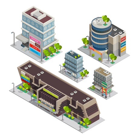 department store: Modern city shopping center complex isometric composition with supermarket and department store buildings abstract vector illustration