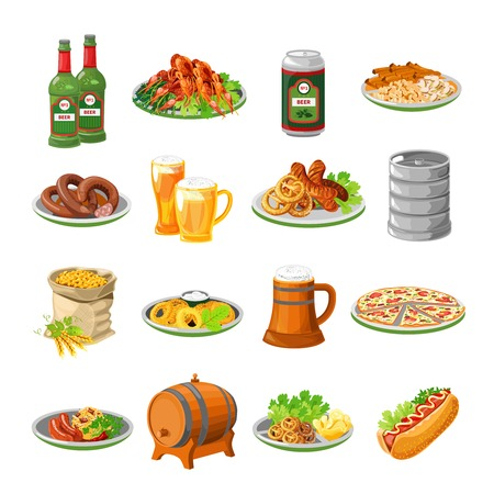 german tradition: Annual oktoberfest festival traditional food with sausage and beer barrel flat icons collection abstract isolated vector illustration Illustration