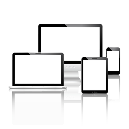 palmtop computer: Mobile devices set with laptop computer monitor smartphone tablet vector illustration