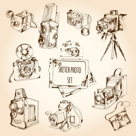 tripods: Sketch retro style photo set with camera and photography equipment isolated vector illustration Illustration
