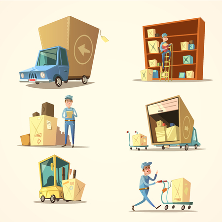 Warehouse concept set with retro cartoon truck and cargo boxes isolated vector illustration