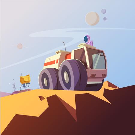 astronautics: Research vehicle and cosmonaut cartoon background with astronaut equipment vector illustration