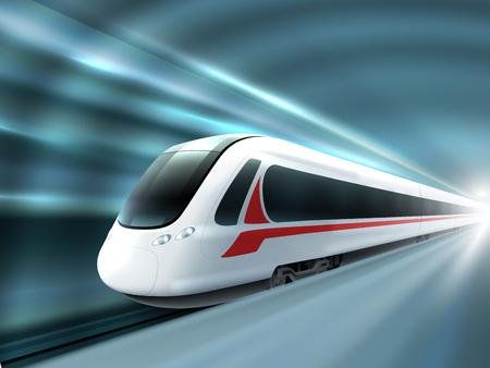 túnel de la estación de tren de alta velocidad super aerodinámico con el movimiento de efectos de luz de fondo del cartel realista impresión ilustración vectorial