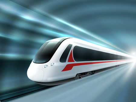 Super streamlined high speed train station tunnel with motion light effect background realistic poster print vector illustration Vectores