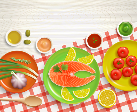 checked background: Flat lay cooking fish with tomatoes and lemon dish on checked tablecloth wood textured background vector illustration