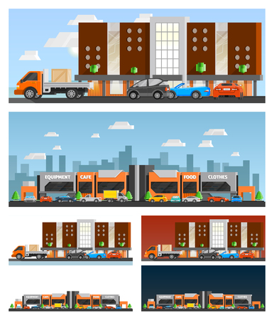 orthogonal: Shopping mall and city orthogonal compositions set with food and clothes symbols flat isolated vector illustration Illustration