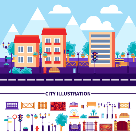 decorative urn: Set of decorative icons with different common objects and elements for city street construction vector illustration Illustration