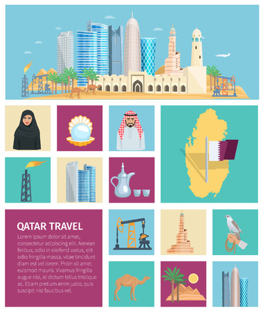 traditional culture: Qatar culture flat icon set with traditional objects symbols and nature in colored square frames vector illustration