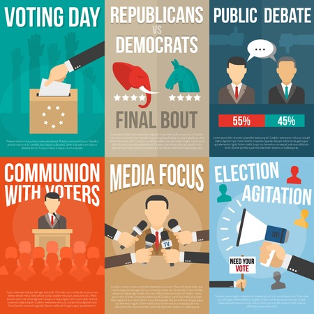 election debate: Set of color posters with title about agitation voting and election government isolated vector illustration Illustration