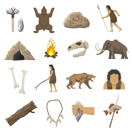 primitive tools: Set color icons with elements of life in stone age caveman cave bonfire mammoth bone isolated vector illustration