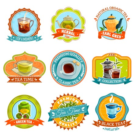 brown sugar: Flat retro styled isolated emblems with different types of tea and accessories vector illustration