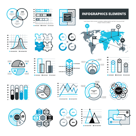 graphical chart: Different infographic elements for analytical or statistical presentation in black and blue color flat isolated vector illustration Illustration