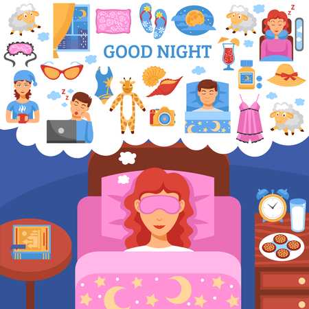long night: Healthy long night sleep habits symbols with bedside nightstand table organizing ideas flat poster abstract vector illustration