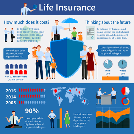 Infografía de seguros de vida con diagramas de familias y agentes del mapa mundial, gráficos, estadísticas e ilustración de vector de crecimiento