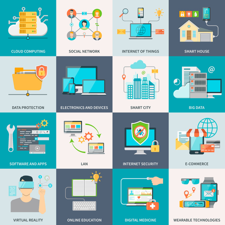 Information technologies concept flat icons with electronic devices software and internet isolated vector illustration