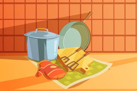 chopping: Kitchen utensils with saucepan chopping board and frying pan cartoon vector illustration