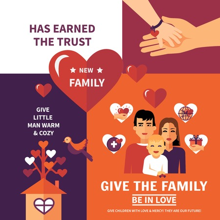 nonprofit: Humanitarian aid nonprofit worldwide organization flat banners composition family adoption poster for children in need abstract vector illustration