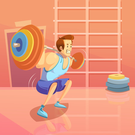 man gym: Gym and weightlifting background with man lifting a barbell cartoon vector illustration